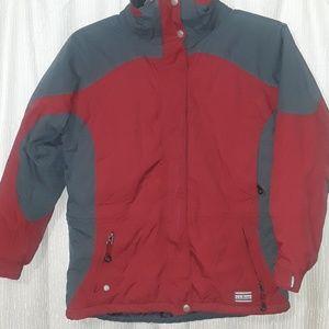 Authentic L.L. Bean primaloft bomber coat red/grey